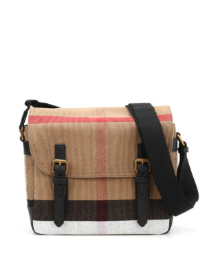 Burberry: shoulder bags - Check canvas messenger