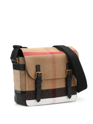 Burberry: shoulder bags online - Check canvas messenger