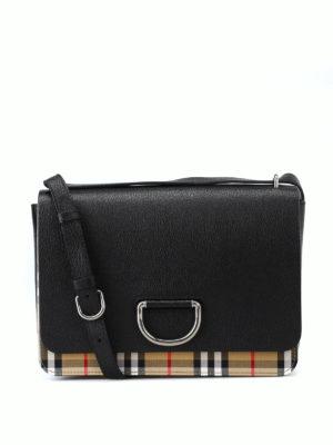 BURBERRY: borse a spalla - Borsa D Ring M in pelle nera e tessuto Check