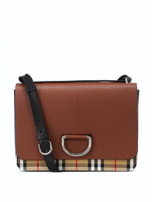 BURBERRY: borse a spalla - Borsa D Ring media in pelle e tessuto Check
