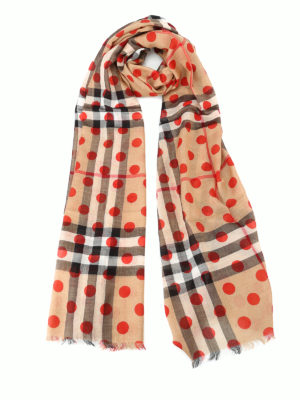Burberry: Stoles & Shawls - Dotted Check print gauze shawl