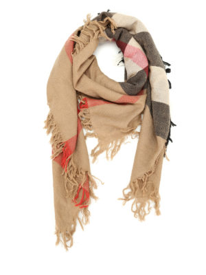 Burberry: Stoles & Shawls - House Check merino wool shawl