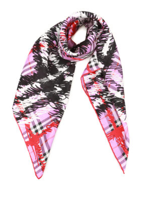 Burberry: Stoles & Shawls - Scribble print squared silk shawl