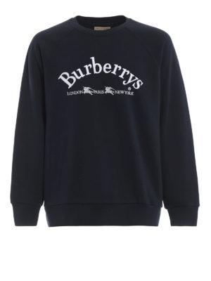BURBERRY: Felpe e maglie - Felpa blu Battarni con ricamo Burberrys