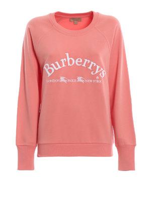 BURBERRY: Felpe e maglie - Felpa girocollo Battarni in cotone rosa