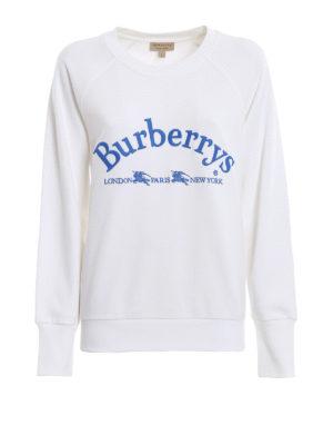 BURBERRY: Felpe e maglie - Felpa girocollo Battarni in cotone bianco
