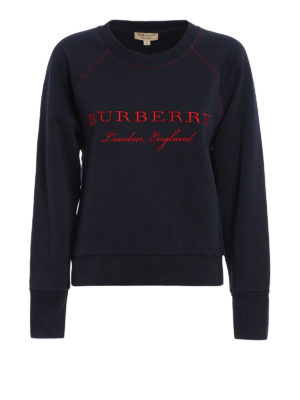 Burberry: Sweatshirts & Sweaters - Embroidered logo cotton sweatshirt