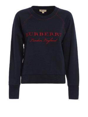 Burberry: Sweatshirts & Sweaters - Embroidered logo cotton sweatshirt