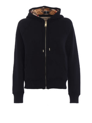 Burberry: Sweatshirts & Sweaters - Lined front black cotton hoodie