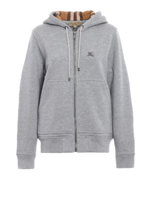 Burberry: Sweatshirts & Sweaters - Lined front grey cotton hoodie
