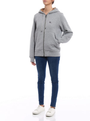 Burberry: Sweatshirts & Sweaters online - Lined front grey cotton hoodie