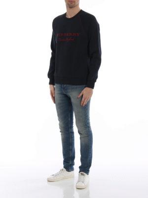 Burberry: Sweatshirts & Sweaters online - Taydon embroidered logo blue sweat