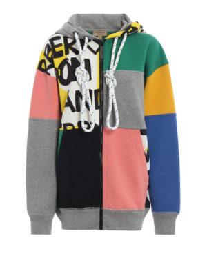 BURBERRY: Felpe e maglie - Felpa patchwork Pavina con cappuccio e zip