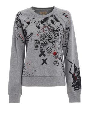 Burberry: Sweatshirts & Sweaters - Printed sketches grey sweatshirt