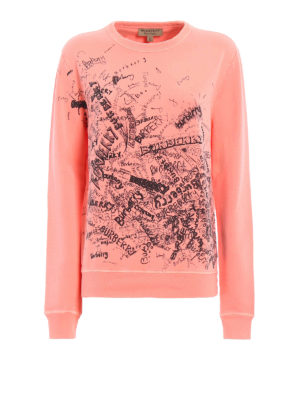 Burberry: Sweatshirts & Sweaters - Rennie sketch logo print sweatshirt
