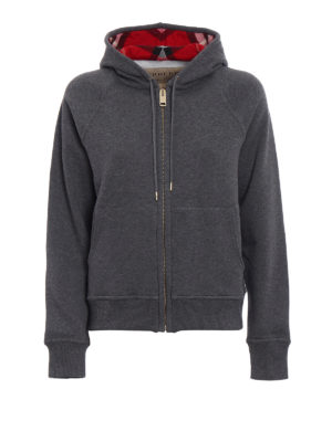 Burberry: Sweatshirts & Sweaters - Tartan lined zipped hoodie