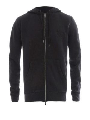 Burberry: Sweatshirts & Sweaters - Tonal embroidery full zipped hoodie