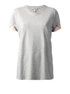 Burberry: t-shirts - Check cuffs cotton T-shirt