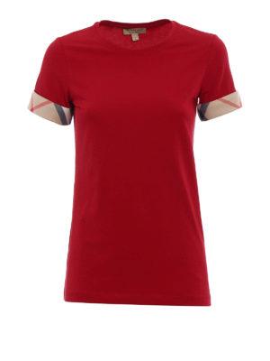 Burberry: t-shirts - Check cuffs jersey T-shirt