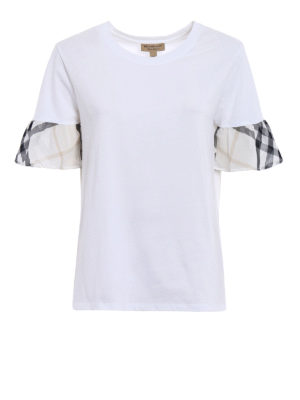 Burberry: t-shirts - Check detailed cotton Tee