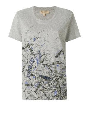 Burberry: t-shirts - Doodle print cotton T-shirt