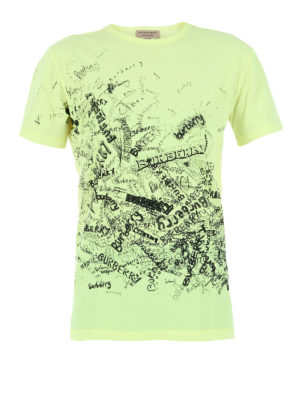 Burberry: t-shirts - Doodle print fluorescent Tee