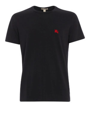 Burberry: t-shirts - Embroidered logo cotton T-shirt