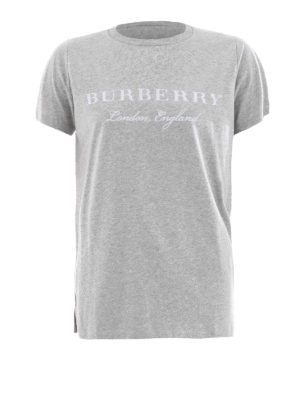 Burberry: t-shirts - Logo detailed scoop neck cotton Tee