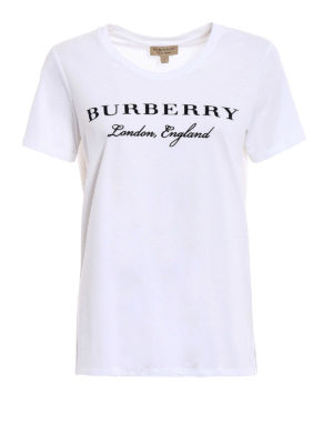 Burberry: t-shirts - Logo lettering print basic Tee