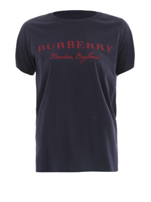 Burberry: t-shirts - Logo print scoop neck cotton Tee