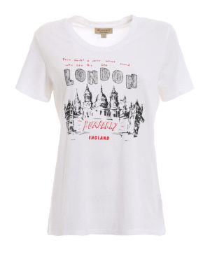 BURBERRY: t-shirt - T-shirt con stampa London Icons