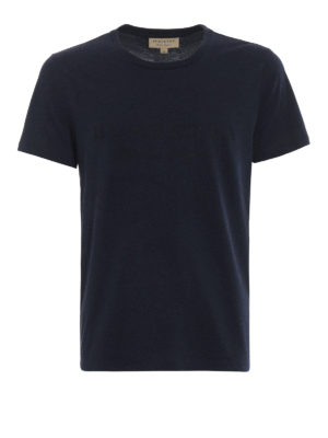 Burberry: t-shirts - Martford logo print navy T-shirt