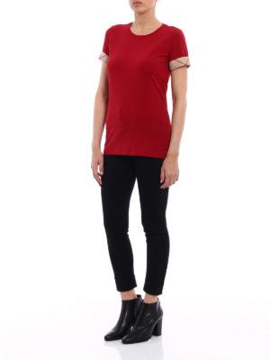 Burberry: t-shirts online - Check cuffs jersey T-shirt
