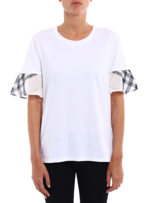 Burberry: t-shirts online - Check detailed cotton Tee