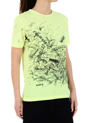 Burberry: t-shirts online - Doodle print fluorescent Tee
