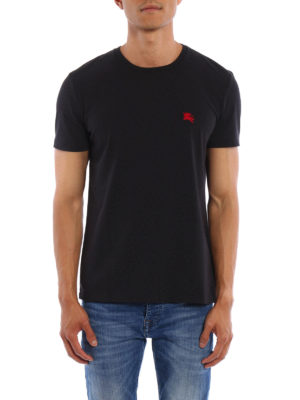 Burberry: t-shirts online - Embroidered logo cotton T-shirt