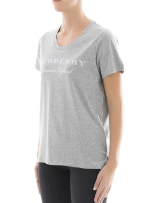 Burberry: t-shirts online - Logo detailed scoop neck cotton Tee