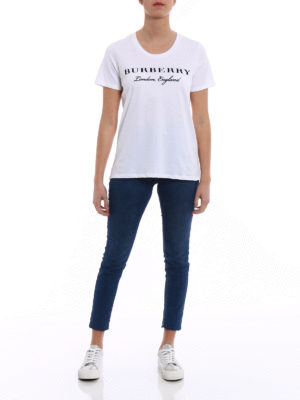 Burberry: t-shirts online - Logo lettering print basic Tee