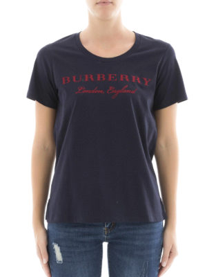 Burberry: t-shirts online - Logo print scoop neck cotton Tee