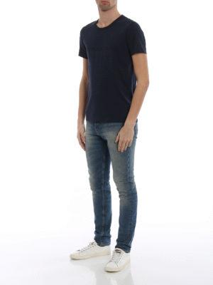 Burberry: t-shirts online - Martford logo print navy T-shirt