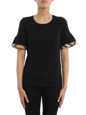 Burberry: t-shirts online - Puffed sleeves cotton T-shirt