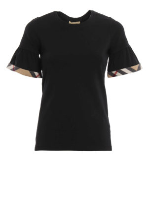 Burberry: t-shirts - Puffed sleeves cotton T-shirt