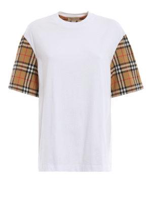 BURBERRY: t-shirt - T-shirt bianca Serra con maniche a quadri