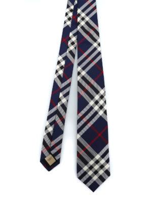 BURBERRY: cravatte e papillion - Cravatta Manston in seta Vintage check blu