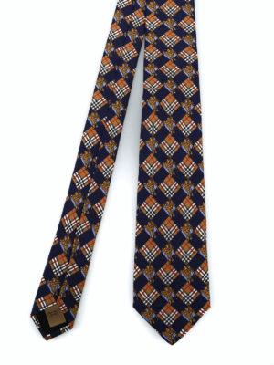 BURBERRY: cravatte e papillion - Cravatta Manston check e cavaliere equestre