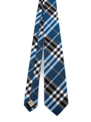 BURBERRY: cravatte e papillion - Cravatta Manston in seta check cobalto
