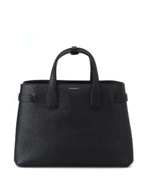 BURBERRY: shopper - Borsa media Banner in pelle nera