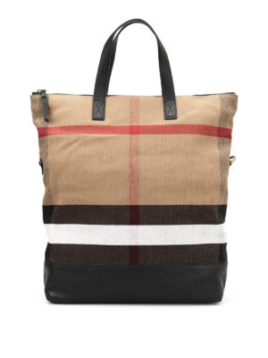 Burberry: totes bags - Check patterned canvas bag