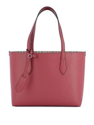 Burberry: totes bags - Leather small reversible tote