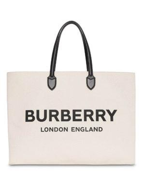 64027e77fb75 BURBERRY  shopper - Shopper con logo in misto cotone écru
